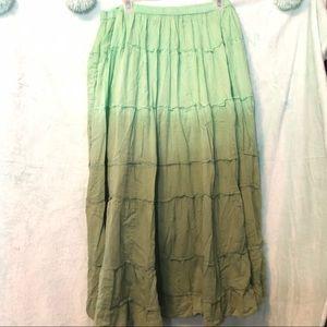 Jane Ahley 1X beautiful green ombré peasant skirt